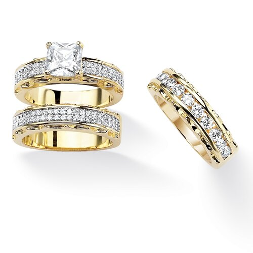 Gold-Plated Cut and Round Cubic Zirconia Ring Set