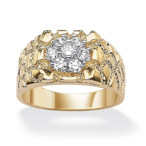 Palm Beach Jewelry Men's Cubic Zirconia Nugget Style Ring