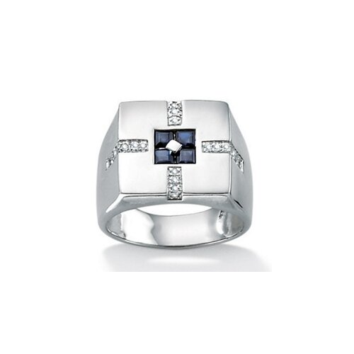 Platinum Plated Men's Sapphire and Diamond Ring
