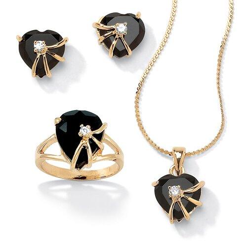 14k Gold Heart Cut Onyx Jewelry Set