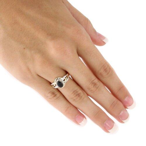 Palm Beach Jewelry 10k Yellow Gold Oval Cut Sapphire Halo Ring