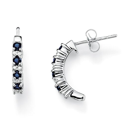 Round Cut Sapphire Hoop Earrings