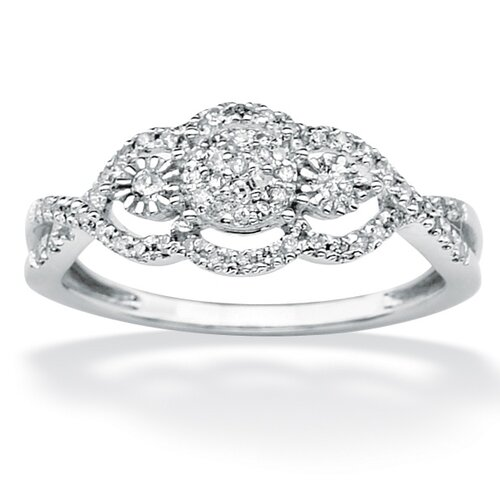 Palm Beach Jewelry 10k White Gold Round Cut Diamond Halo Ring
