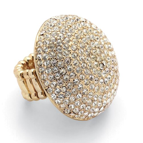 Goldtone Round Cut Crystal Statement Ring