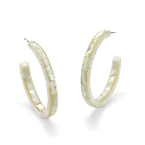 Palm Beach Jewelry Mother-of-Pearl Hoop Earrings