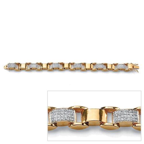 Men's Round Cut Cubic Zirconia Link Bracelet