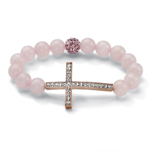 Sideways Cross Crystal Beaded Bracelet