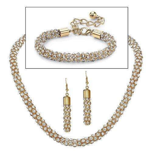 14k Yellow Gold Round Crystal Jewelry Set