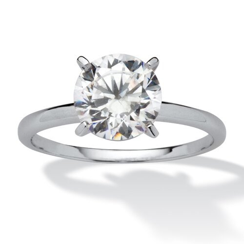 10k Gold Round Cut Cubic Zirconia Solitaire Ring