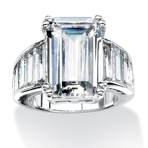Silvertone Emerald Cut Cubic Zirconia Ring