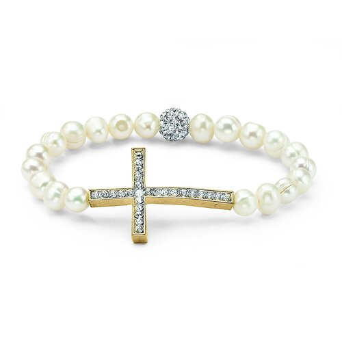 Cultured Pear Cross Beaded Bracelet