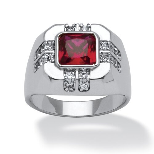 Men's Platinum-Plated Cushion Cut Red Cubic Zirconia Ring