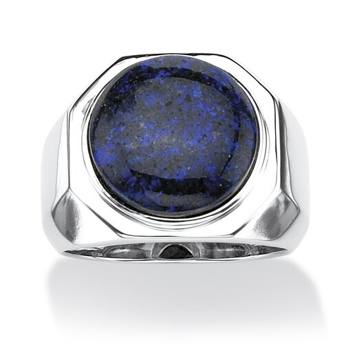 Men's Platinum Over Silver Round Cut Opal Cabochon Ring
