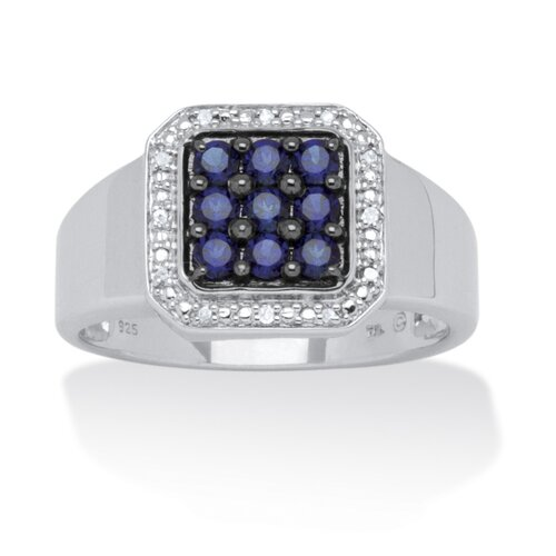 Men's Platinum Over Silver Square Cut Sapphire Diamond Ring