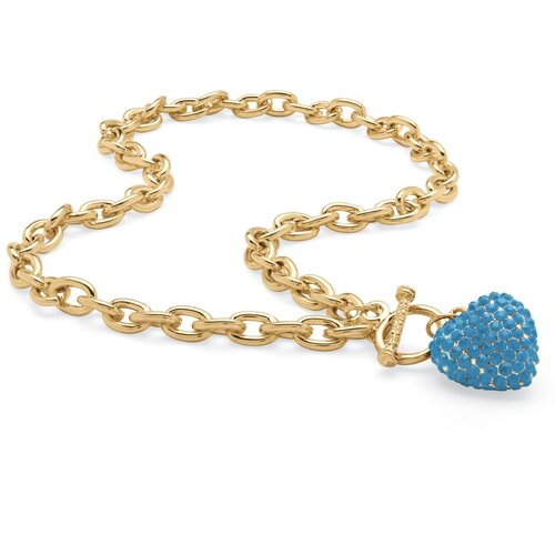 Goldtone Birthstone Crystal Heart Necklace