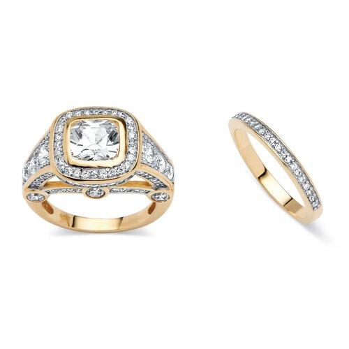 2 Piece 18k Gold-Plated Cubic Zirconia Ring Set