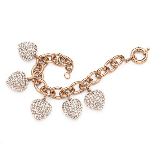 Palm Beach Jewelry Crystal Heart Charm Bracelet