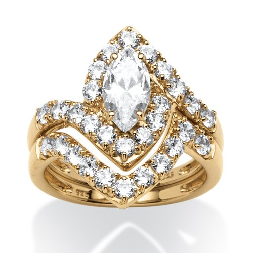 2 Piece 18k Gold Over Silver Cubic Zirconia Ring Set