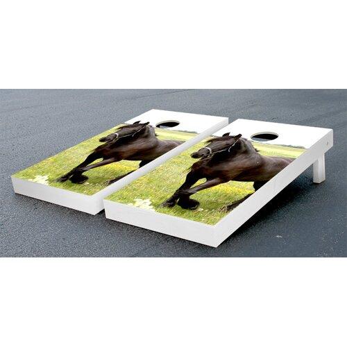 Friesian Horse Cornhole Bean Bag Toss Game