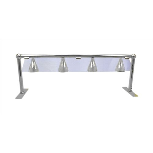 Four Lamp Heated Serving Line with Sneeze Guard in Stainless Steel