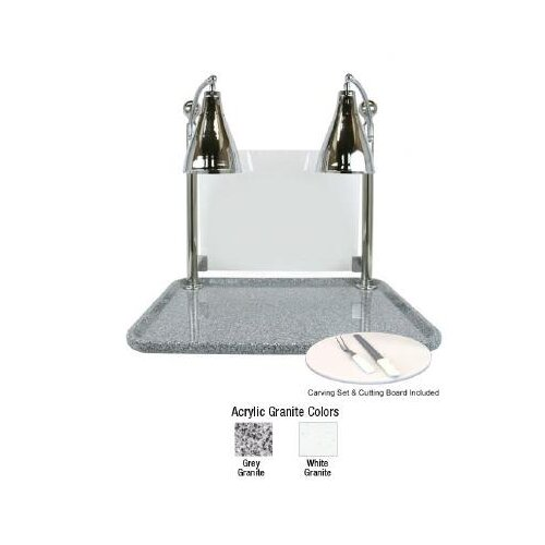 Buffet Enhancements Flex Dual Stainless Steel Lamp Rectangular Carving Station with Sneeze Guard