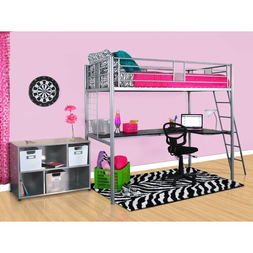 Elite Products Modern Loft Twin Loft Bed with Desk
