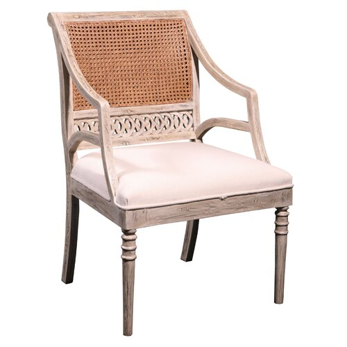 Furniture Classics LTD Ribbon Caned Back Fabric Arm Chair