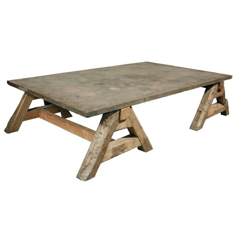 Coffee Table with Old Stone Top