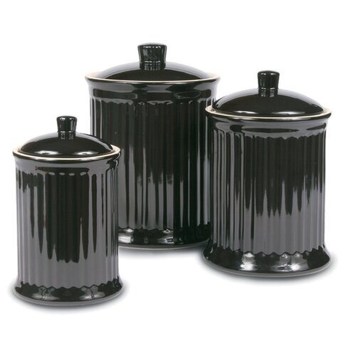 omniware simsbury 3 piece canister set amp reviews wayfair black kitchen canisters foter