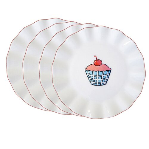 "Omniware Everyday Cupcake 7"" Plaid Plate"