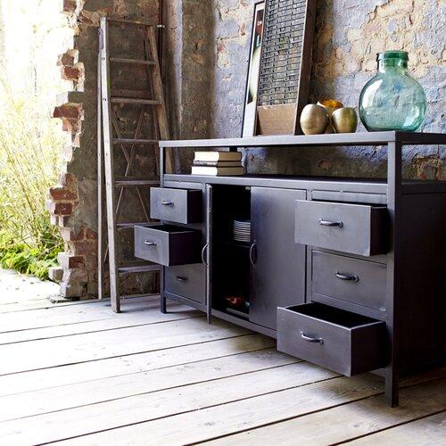 industriel 2 door 6 drawer sideboard wayfair uk. Black Bedroom Furniture Sets. Home Design Ideas