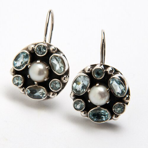 Sterling Silver Cultured Pearl and Blue Topaz Earrings