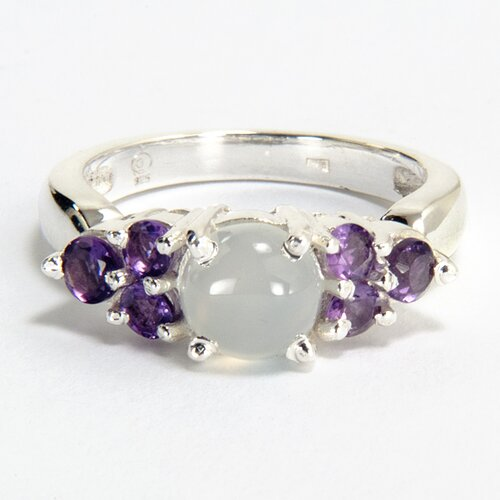 Sitara Jewelry Sterling Silver White Moonstone and Amethyst Ring