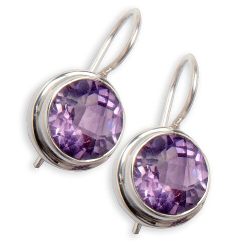 Sitara Jewelry Sterling Silver Amethyst Round Gemstone Earrings