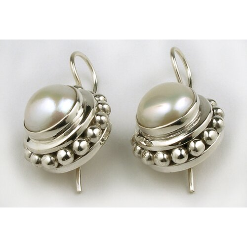 Sterling Silver Round Cultured Pearl Earrings