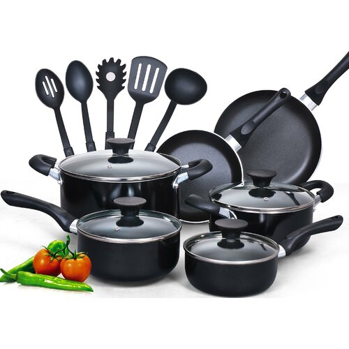 Cook N Home 15-Piece Soft Handle Nonstick Cookware Set