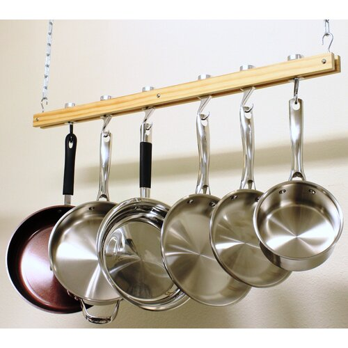Wood Single Bar Pot Rack Set