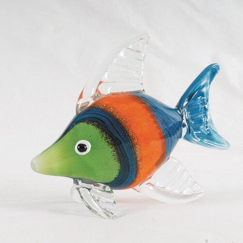 C & F Enterprises Striped Art Glass Fish Figurine