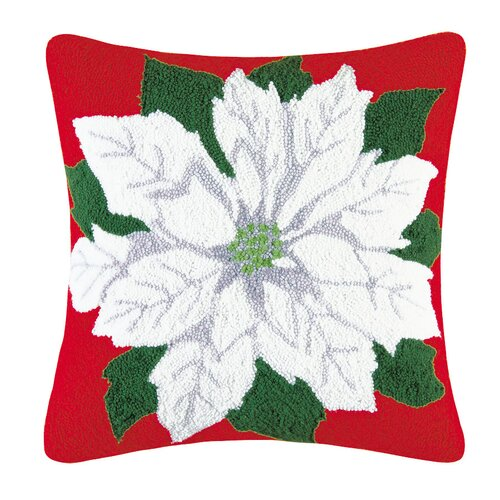 C & F Enterprises Poinsettia Hooked Pillow