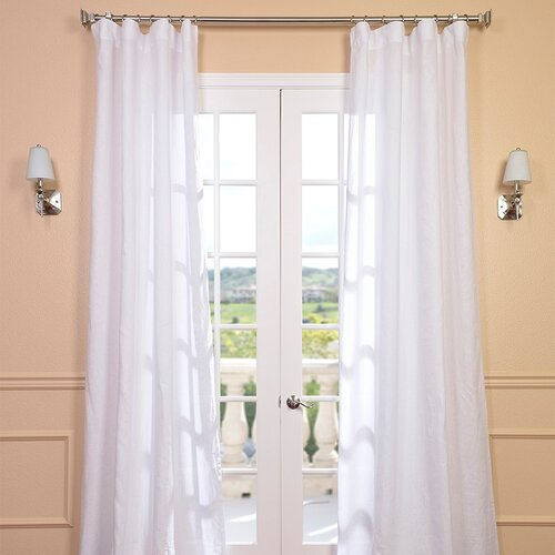 Half Price Drapes Signature Lace French Linen Pleated Curtain Single Panel