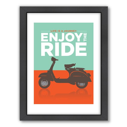 Enjoy The Ride Vespa Framed Textual Art