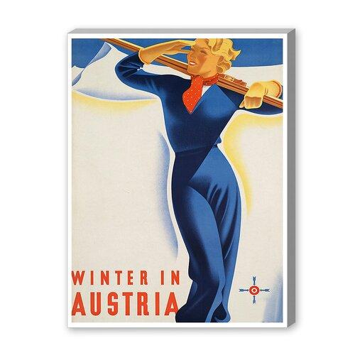 Austria Ski Girl Vintage Advertisement on Canvas