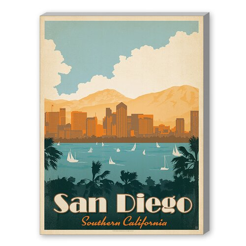 San Diego Southern California Vintage Advertisement on Canvas