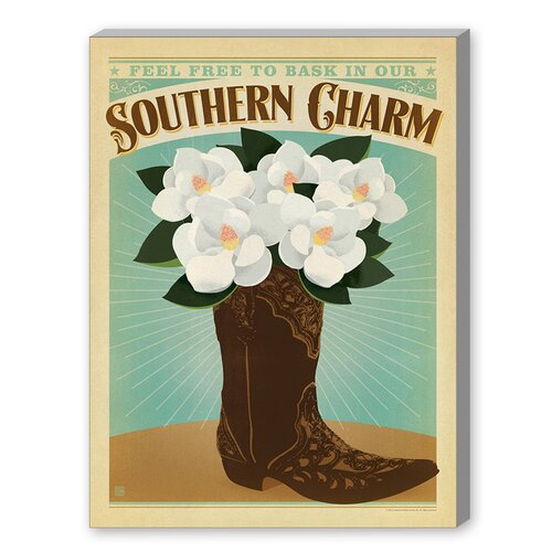 Southern Charm Boot Graphic Art on Canvas