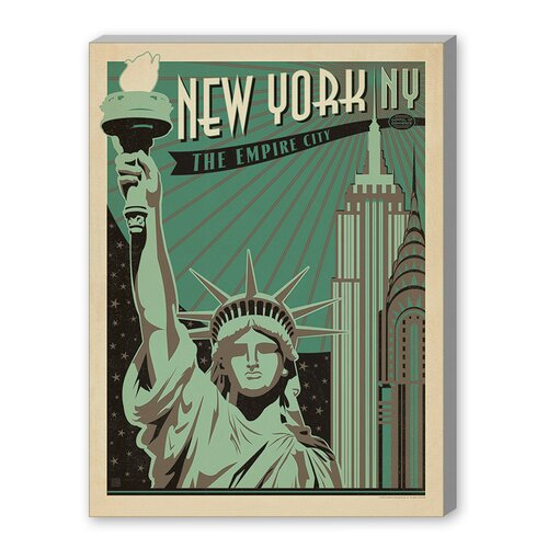 Americanflat World Travel 'New York - Empire City' by Joel Anderson Vintage Advertisement