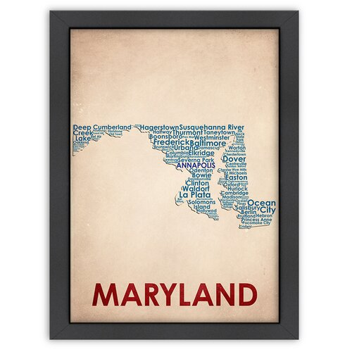 Americanflat Typography Maps Maryland Textual Art
