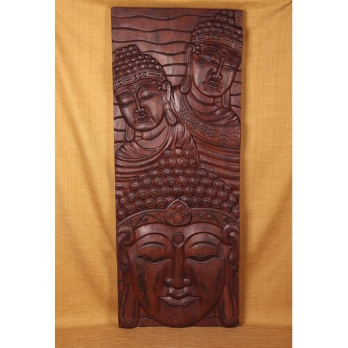 Miami Mumbai Wood Panels Three Head Vertical Wall Décor