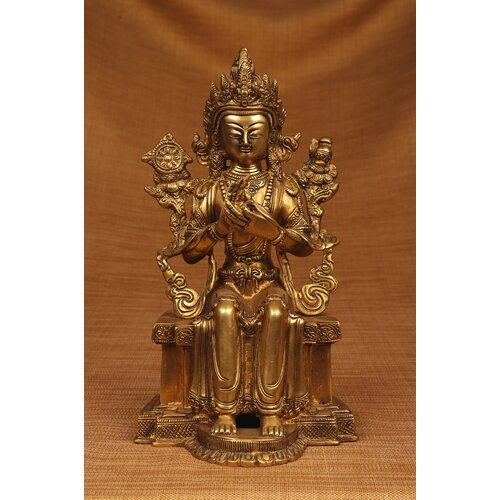 Miami Mumbai Brass Series Buddha Sitting on Throne Figurine