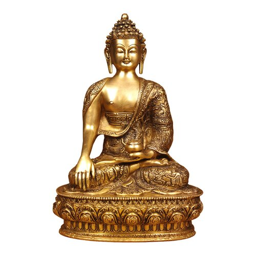 Miami Mumbai Brass Series Buddha with Medicine Bowl Carving Figurine
