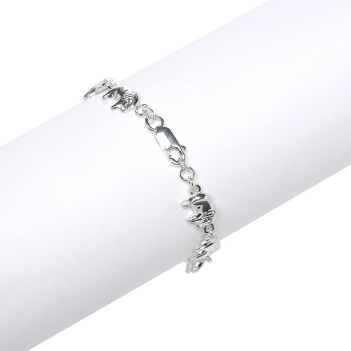 Jewelryweb Sterling Silver Lobster Claw Elephant Bracelet
